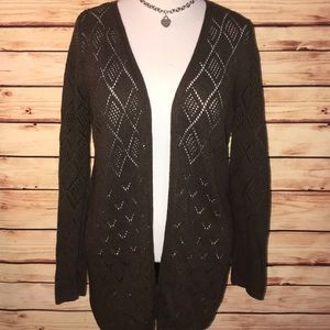 Mossimo Rich Brown Open Knit Tunic Cardigan